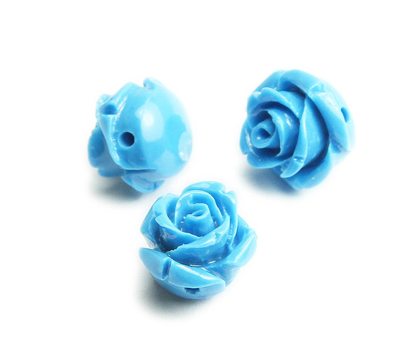 12mm Pack Of 10 Sky Blue Natural Coral Rose Flower Beads