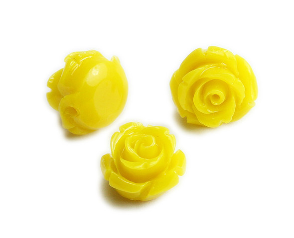 12mm  pack of 10 Sunshine yellow natural coral rose flower beads