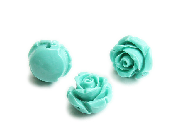 12mm Pack Of 10 Turquoise Natural Coral Rose Flower Beads