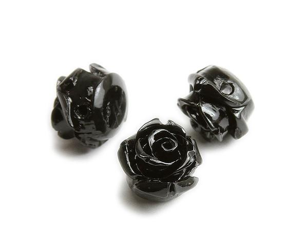 15mm Pack Of 10 Black Natural Coral Rose Flower Beads