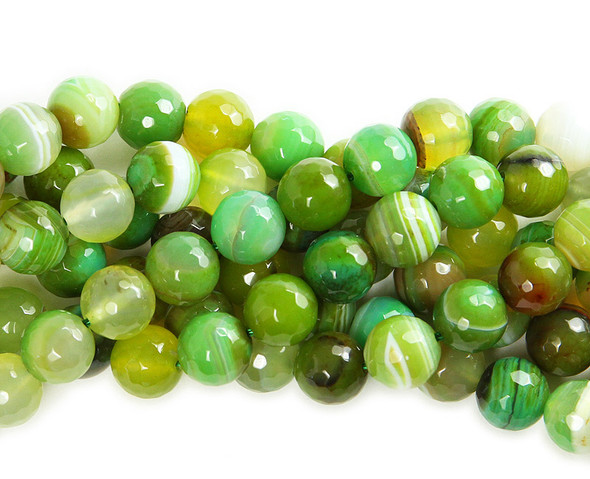 10mm Forest green striped agate faceted round beads