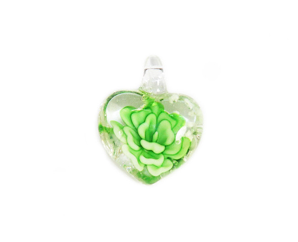20x27mm  pack of 2 Emerald green heart murano style glass pendant