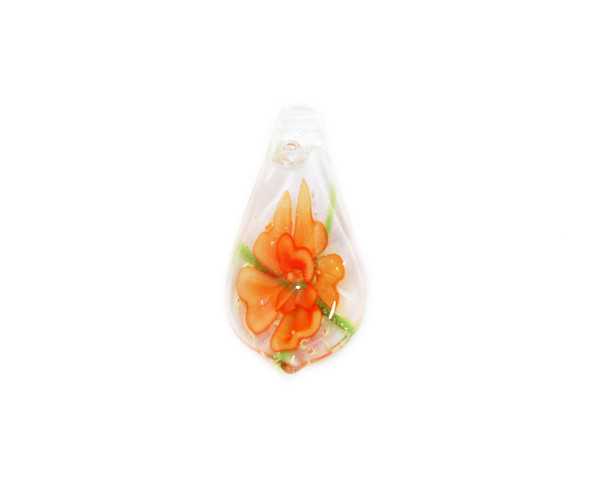 20x34mm  pack of 2 Orange leaf murano style glass pendant