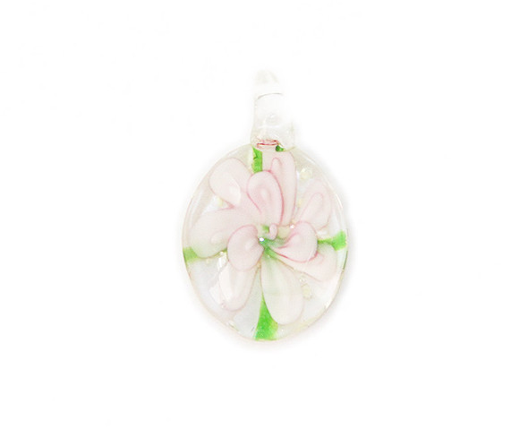 18x30mm  pack of 2 Pink oval murano style glass pendant