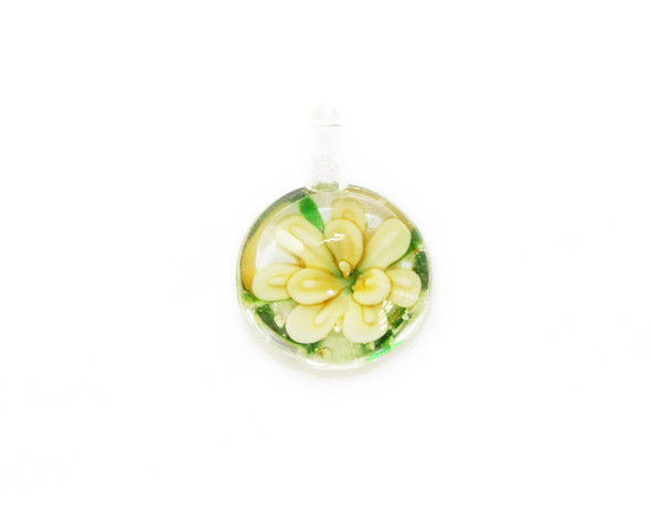20x25mm  pack of 2 Yellow round murano style glass pendant