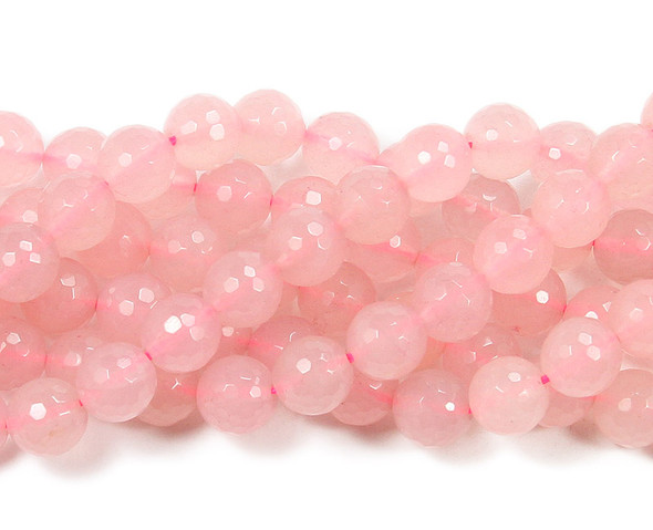 8mm Rose Pink Jade Dyed Faceted Round Beads