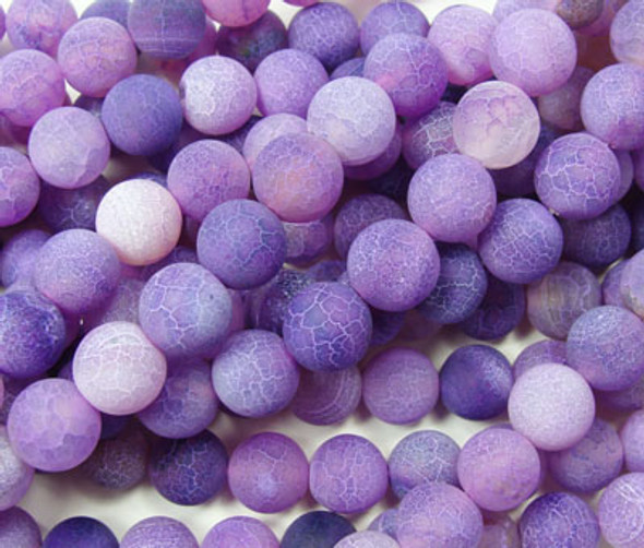 14mm  14 inches Purple matte agate round beads