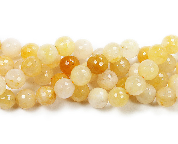 14mm Yellow Jade Faceted Round Beads