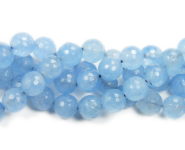 12mm Sky Blue Jade Dyed Faceted Round Beads