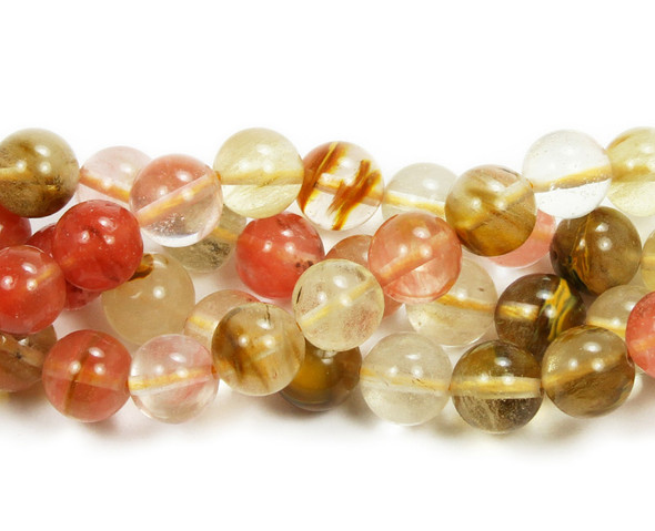 8mm Fire cherry quartz round beads