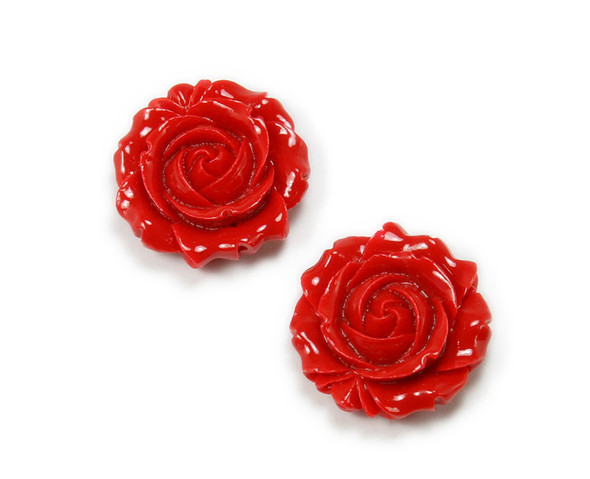 35mm Pack Of 2 Red Acrylic Glass Rose Flower Pendant