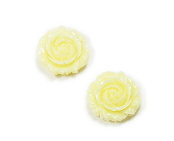 35mm Pack Of 2 Cream Yellow Glass Rose Flower Pendant