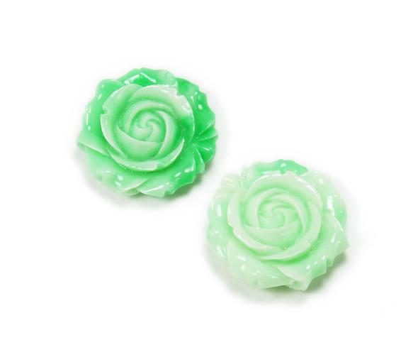 35mm Pack Of 2 Mint Green Glass Rose Flower Pendant