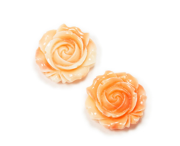 35mm Pack Of 2 Salmon Pink Glass Rose Flower Pendant