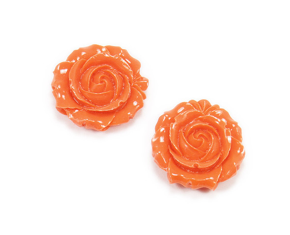 30mm Pack Of 2 Pumpkin Orange Acrylic Glass Rose Flower Pendant