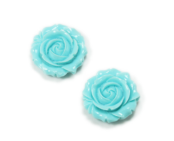 25mm Pack Of 2 Turquoise Blue Acrylic Glass Rose Flower Pendant