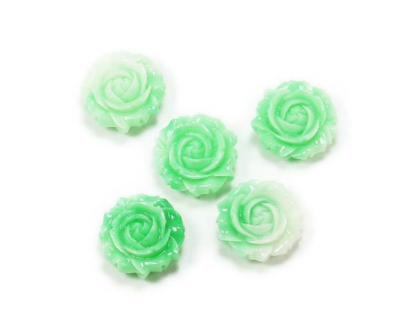 20mm Pack Of 3 Mint Green Glass Rose Flower Pendant