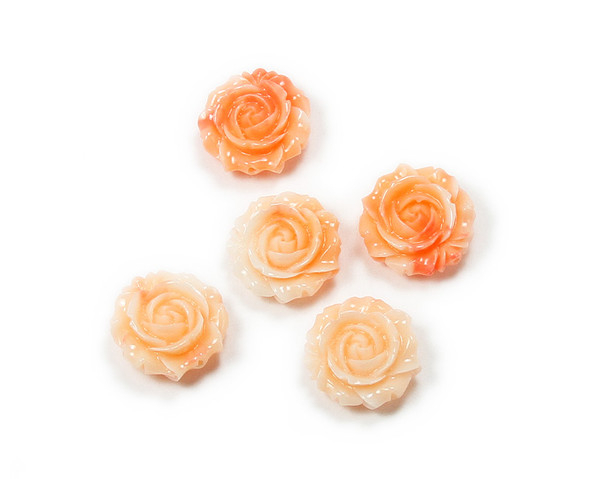 20mm Pack Of 3 Salmon Pink Glass Rose Flower Pendant