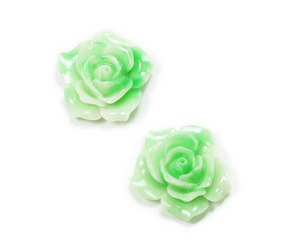 35mm Pack Of 2 Mint Green Large Acrylic Rose Flower Pendant