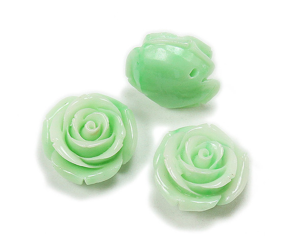 18mm Pack Of 3 Mint Green Acrylic Bulb Flower Pendant