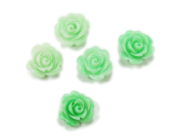 14mm  pack of 5 Mint green acrylic bulb flower pendant