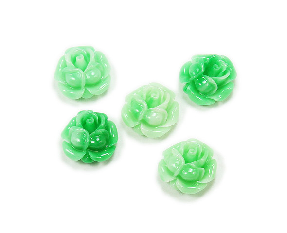 18mm Pack Of 5 Mint Green Acrylic Slanted Flower Pendant