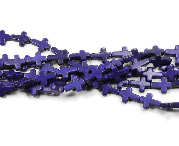 "12x15mm  16"" strand  violet-blue Howlite cross beads"