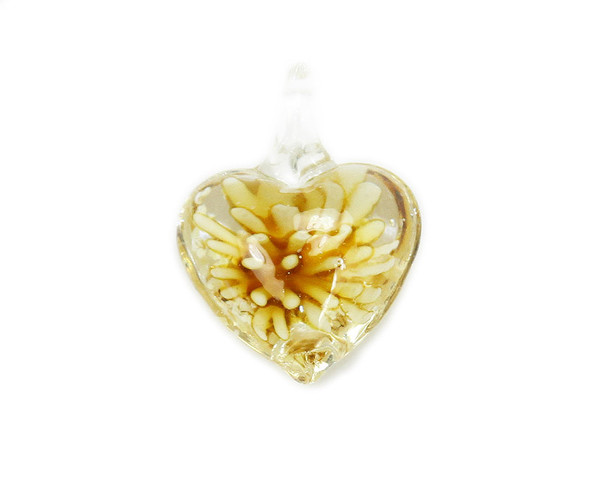 20x27mm  pack of 2 Amber yellow heart murano style glass pendant