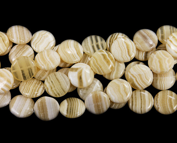 16mm Striped Yellow Jade Coin Beads