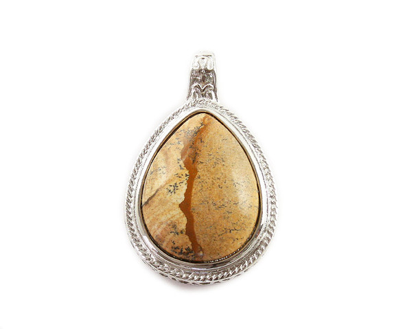 40x60mm Picture Jasper Puffed Teardrop With Silver Frame And Magnetic Hook