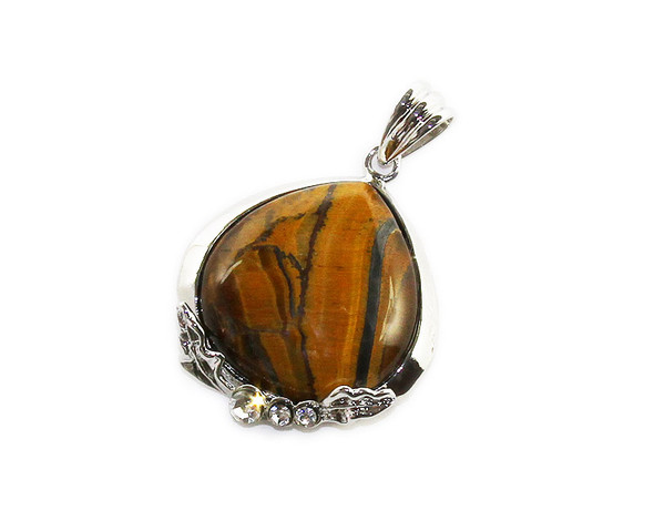 35x35mm Tiger eye teardrop pendant with CZ silver frame