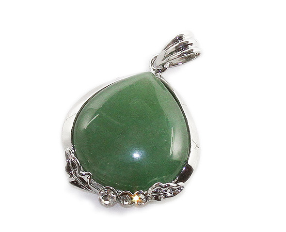 35x35mm Green aventurine teardrop pendant with CZ silver frame