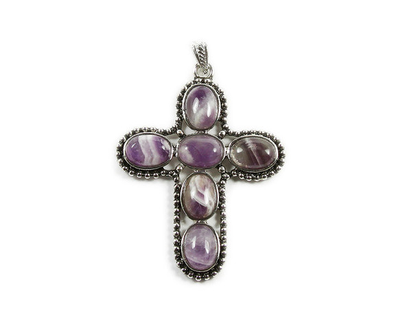 55x65mm Amethyst six gemstone cross pendant