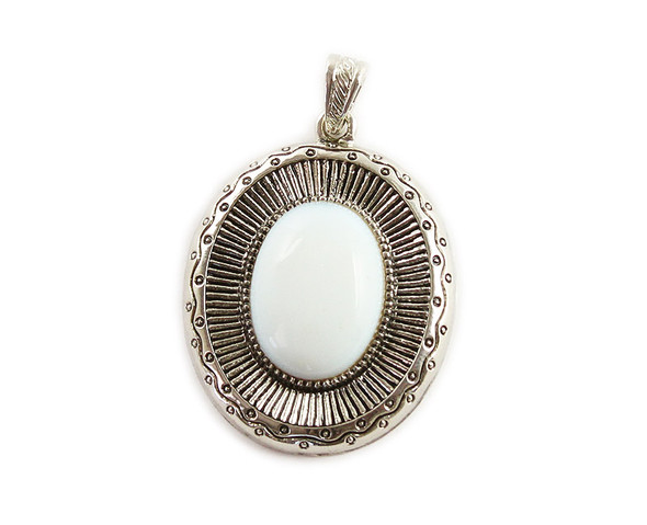 40x45mm Opalite Oval Pendant With Metal Frame
