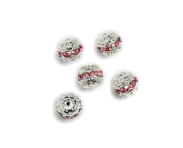 "8mm  pack of 10  pink Cubic Zirconia ""CZ"" spacer round beads in silver"