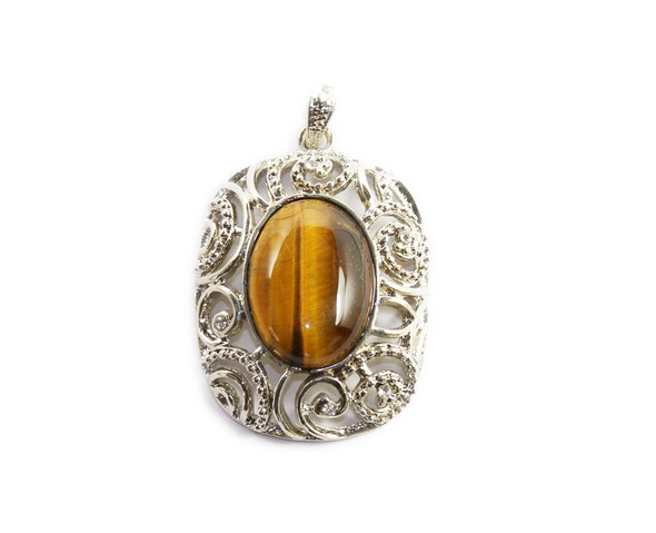 34x42mm Tiger eye convex oval metal frame pendant