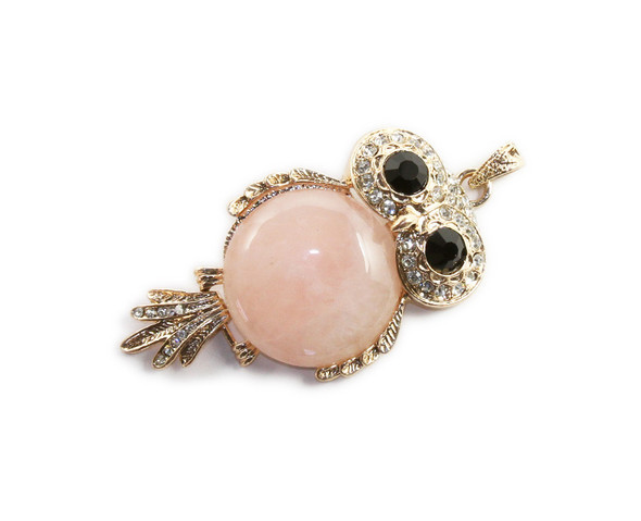 35x60mm Rose Quartz Round Gemstone Owl Cz Pendant