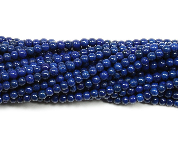 4mm Lapis blue howlite glossy round beads