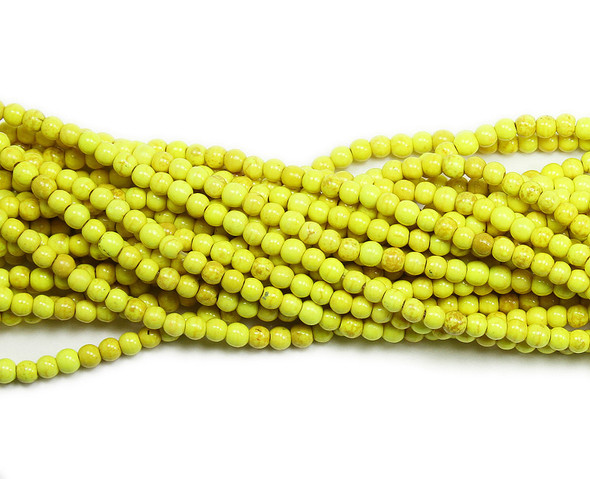 4mm Yellow Howlite Glossy Round Beads