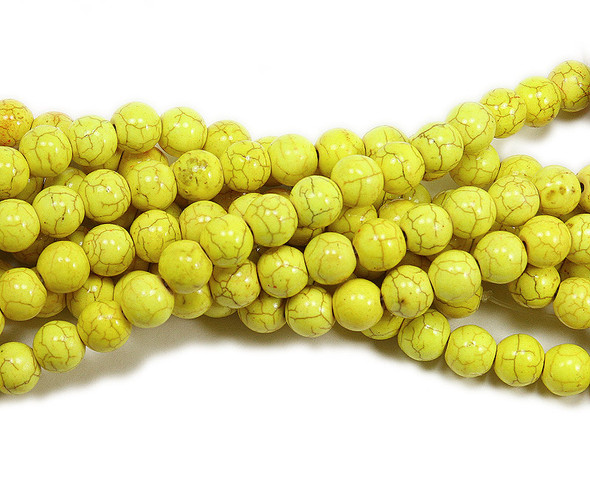 8mm Yellow Howlite Glossy Round Beads