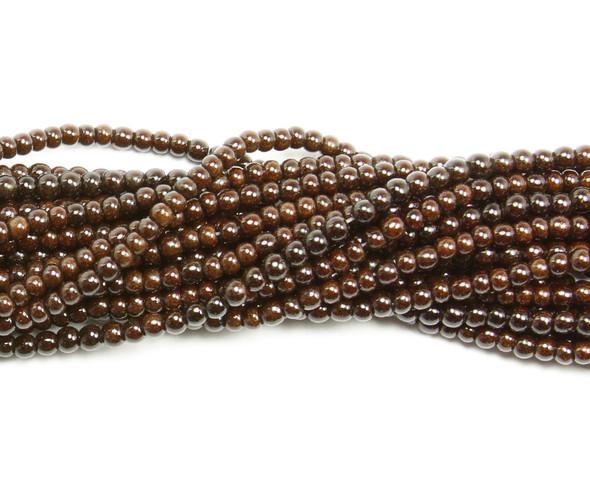 4mm  14.5 inch strand Coffee brown howlite glossy round beads