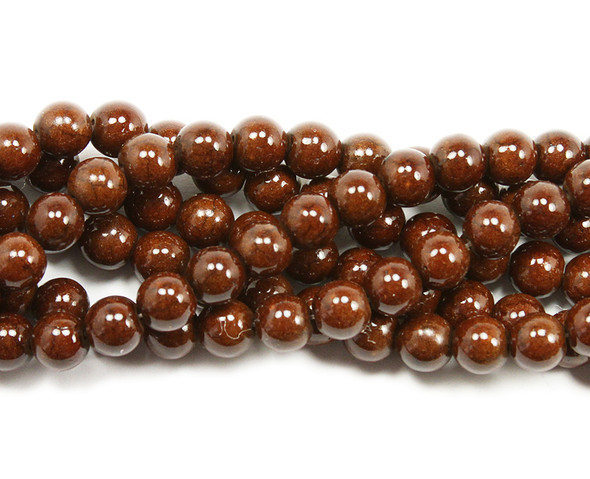 10mm Coffee brown howlite glossy round beads