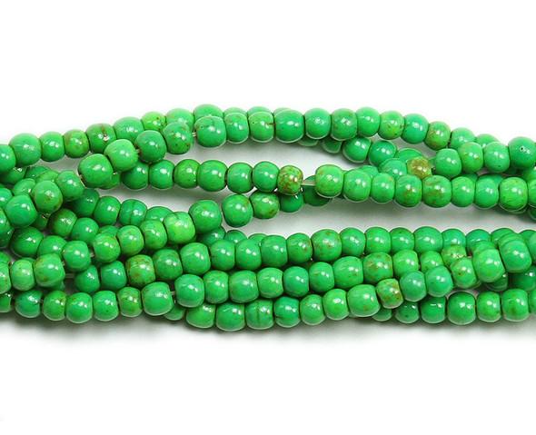 4mm Green howlite glossy round beads