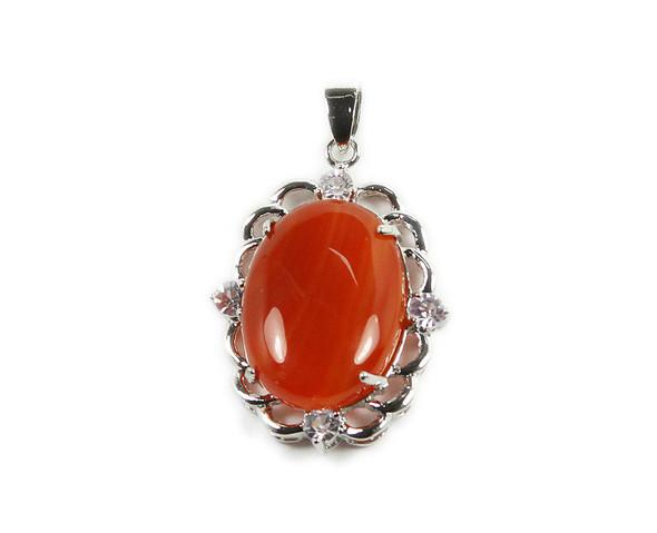 25x30mm Carnelian oval metal CZ framed pendant