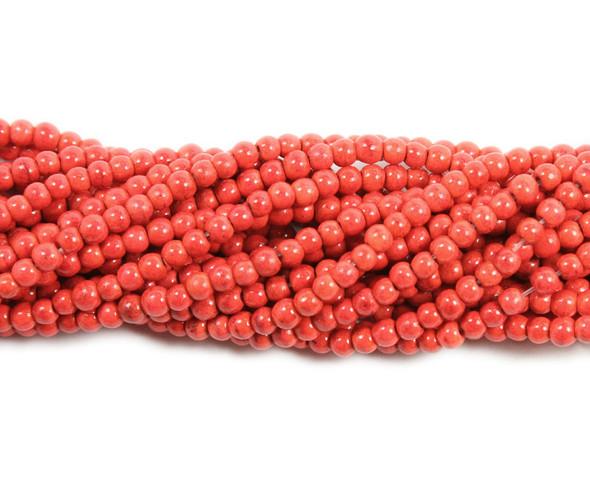 4mm Red-orange howlite glossy round beads