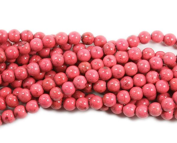 4mm Salmon pink howlite glossy round beads