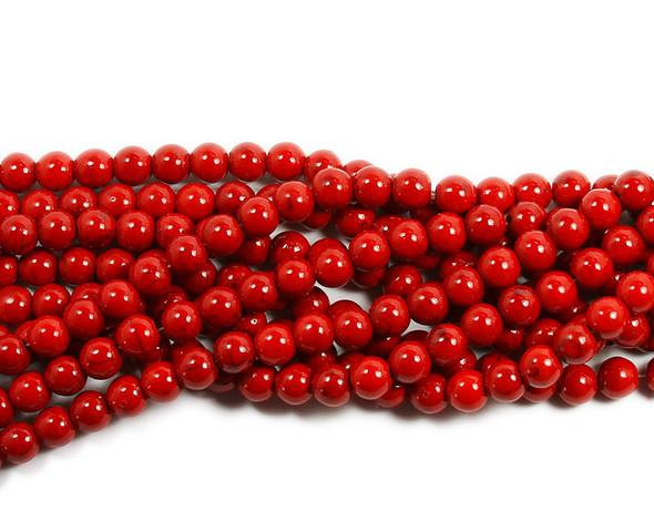 4mm Red Howlite Glossy Round Beads