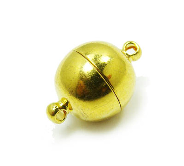 14mm Pack Of 2 Clasps Gold Plated Brass Round Magnetic Clasps
