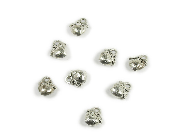 10x10mm  pack of 10 Bali style silver pewter chinese peach charms