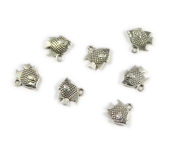 10x12mm  pack of 20 Bali style silver pewter fish charms